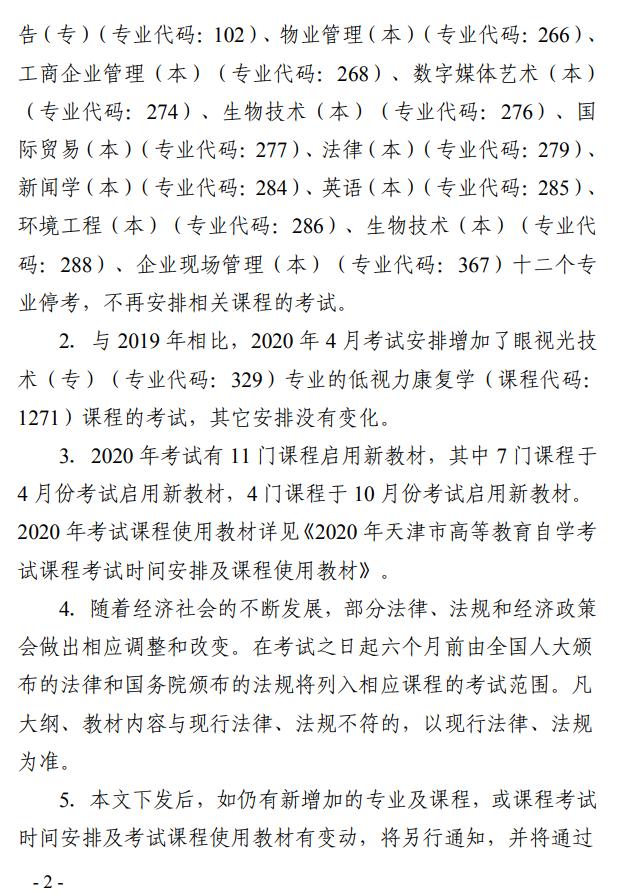 天津2020自考考试时间安排及课程使用教材的通知